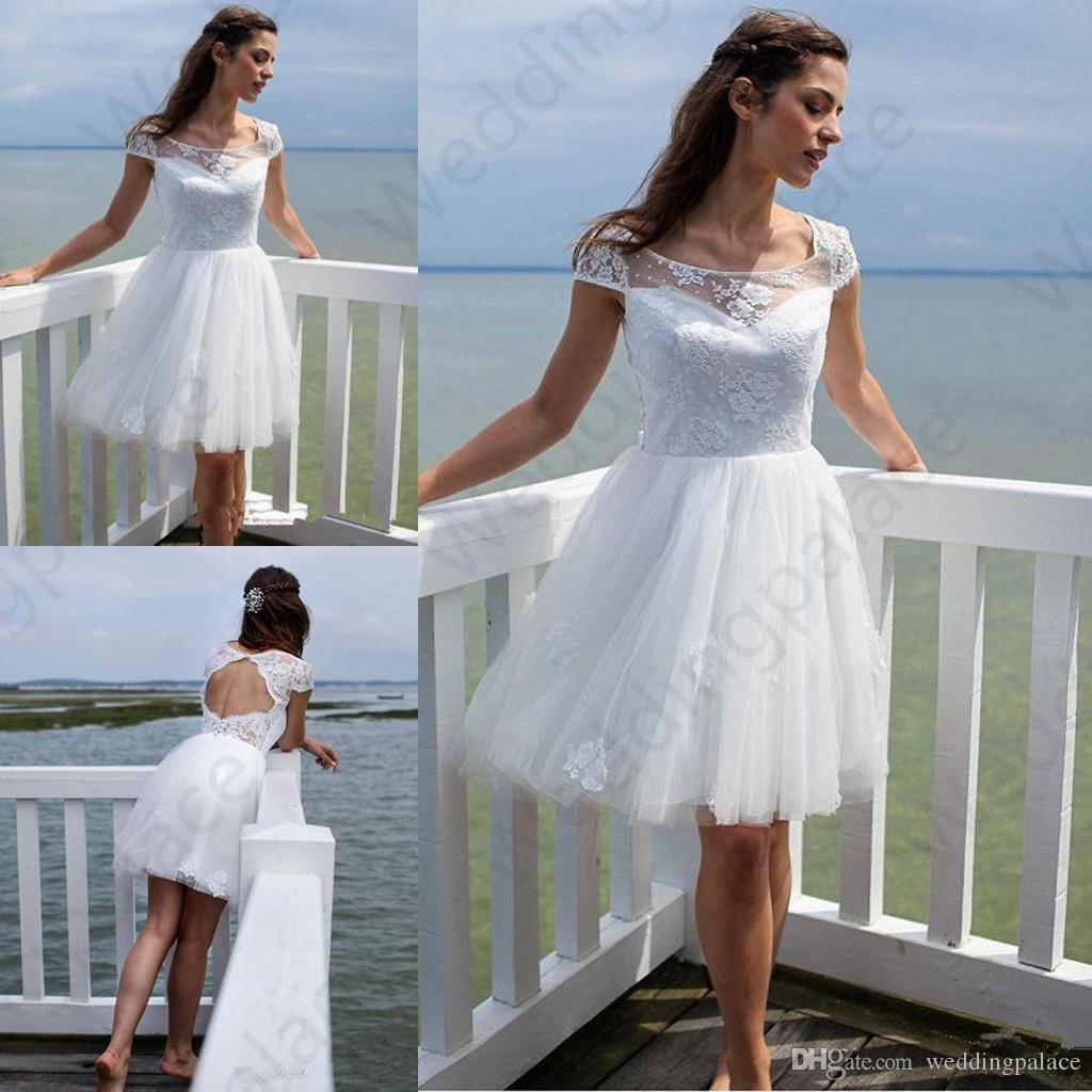 b105d47b229 Discount Short BeachLace Wedding Dresses 2019 Newest Summer Scoop Neck A  Line Knee Length Tulle Bridal Gowns Vestido De Noiva Simple Gowns Simple  Wedding ...