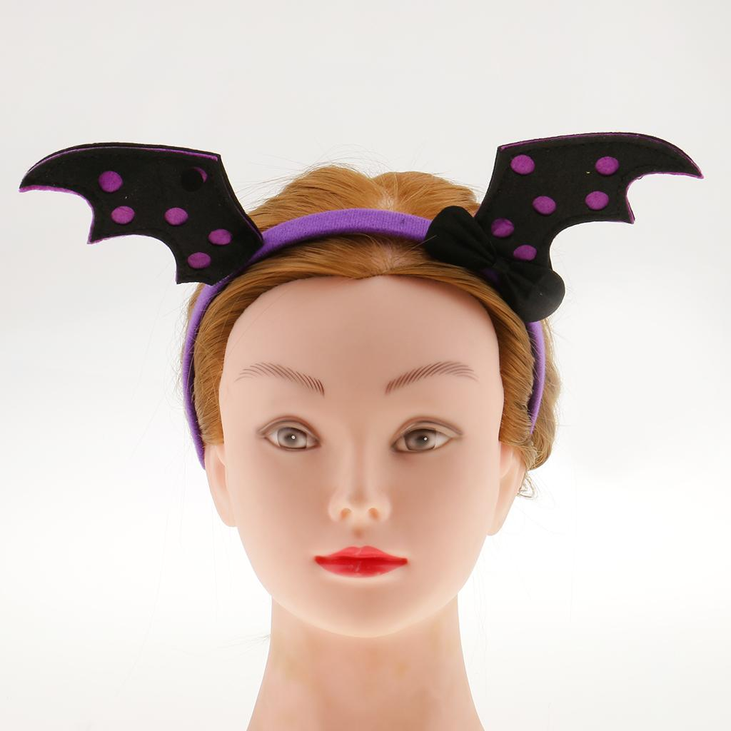 New Arrival Black Evil Bat Headbands And Wing Set Halloween Bat Fairy Hairbands Halloween Cosplay Party Girls Hair Accessories
