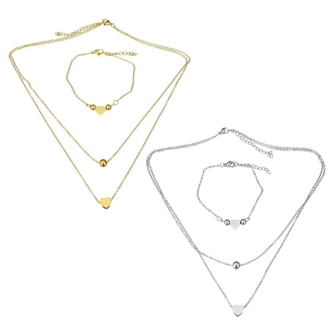 ee00d04ac6ca Compre Moda De Acero Inoxidable   Color Oro Conjuntos De Joyas De Acero  Pulsera Para Mujer Joyería De Boda Collar De Regalo Cadena Corazón Oval  Cadena De ...