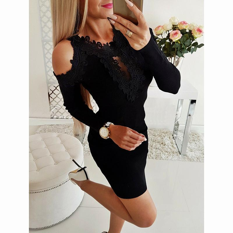 39f7596c5e6 Women S Sexy Knitted Dress Elegant Off Shoulder Long Sleeve Lace Evening  Party Bodycon Mini Dresses Ladies Costume Fashion 2019 Sundress For Sale  Party ...