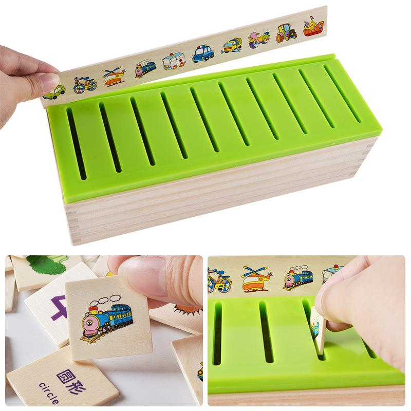 Montessori Box Kids Early Learning Classification Boxes Fruit Words Matching Educational Wooden Game Recognition Toy