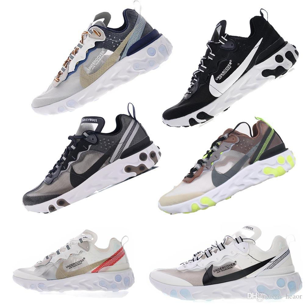 ac9ae18e8963 UNDERCOVER X NIKE Epic UPCOMING REACT ELEMENT 87 Flywire WHITE RED  Translucent Dark Grey Designer SNEAKERS SPORT RUNNING Shoes Flat Shoes  Yellow Shoes From ...
