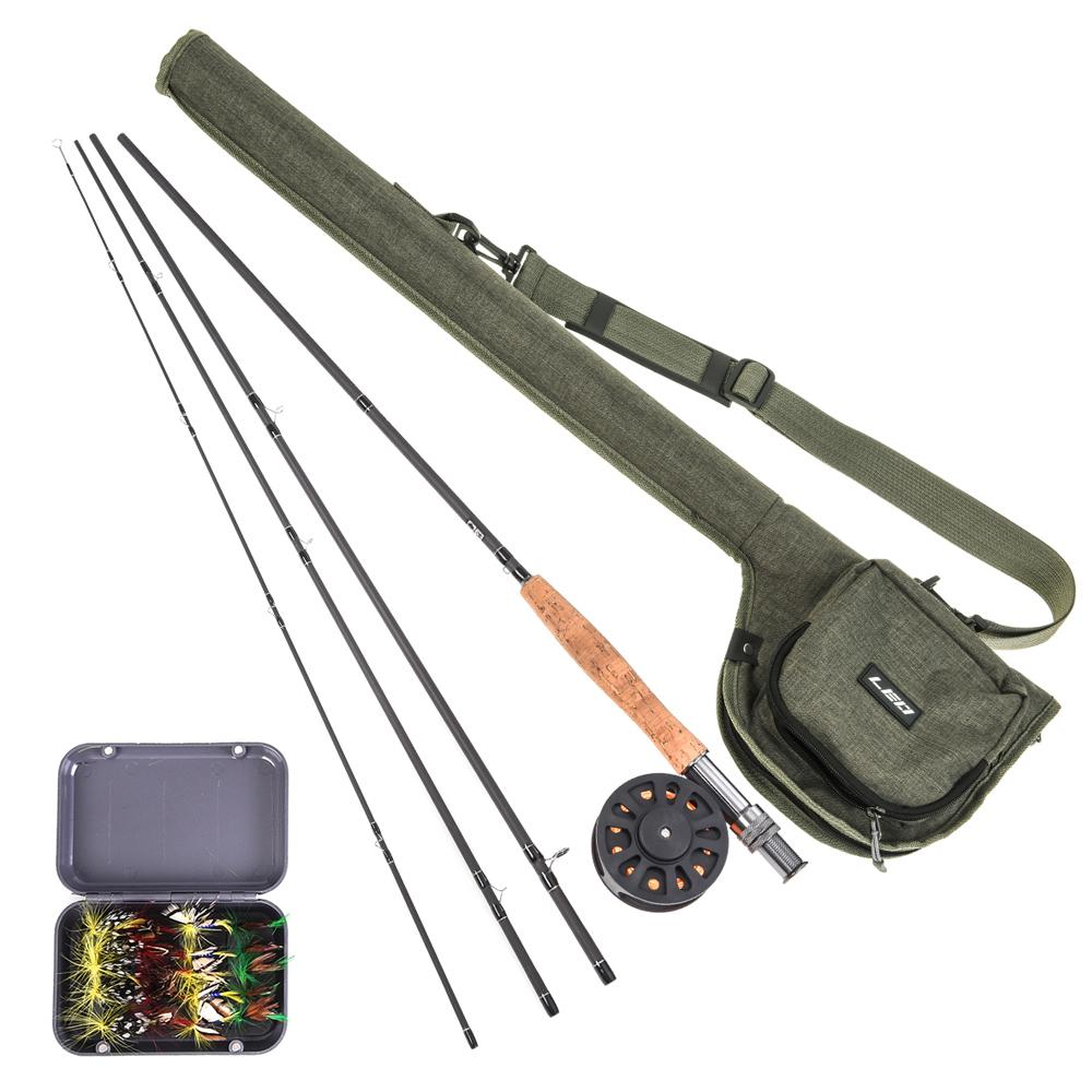 9' Canna da pesca e Reel Combo con Carry Bag 20 mosche completa Starter Package Kit Pesca