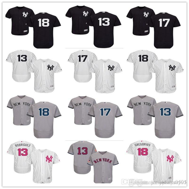 online store e69d6 7eb93 custom Men's women youth Majestic NY New York Yankees Jersey #17 Matt  Holliday 18 Didi Gregorius 13 Alex Rodriguez kids Baseball Jersey