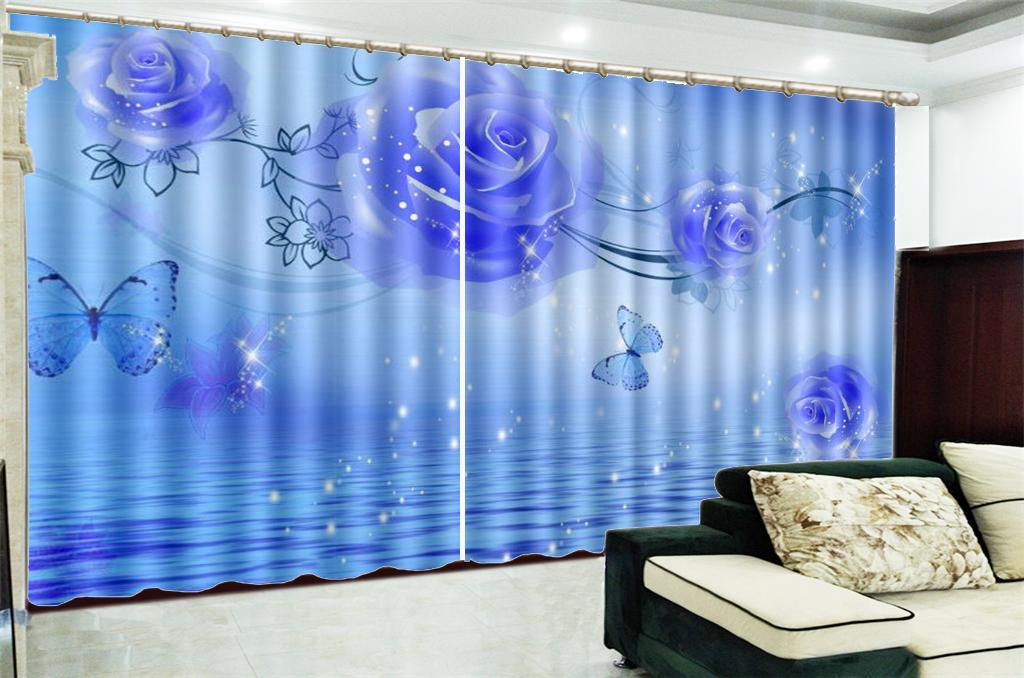 Curtain For Kitchen Promotion Fantasy Purple Rose Decorative Interior Beautiful Blackout Curtains