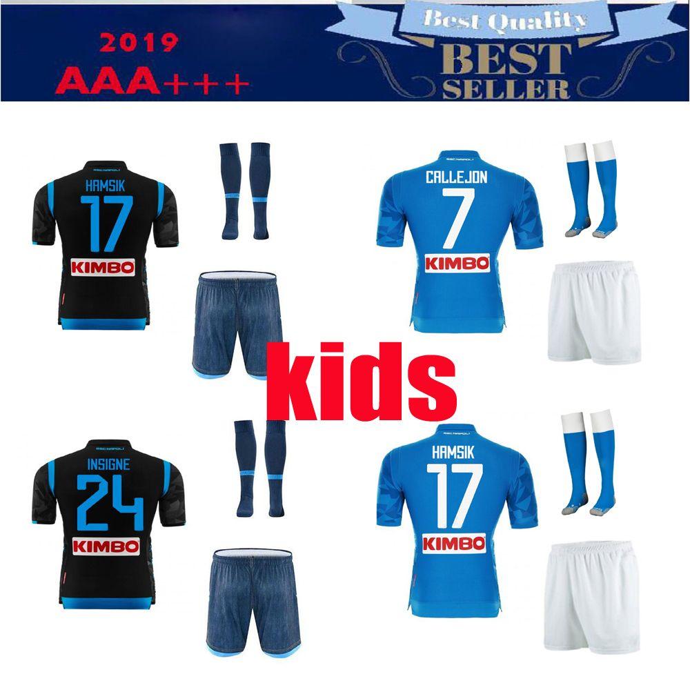 f06fa0d29e0 2019 18 19 Napoli Kids Kits Soccer Jersey Home 19 Naples ZIELINSKI HAMSIK  INSIGNE MERTENS CALLEJON PLAYER ROG Football Shirts From Djohn66