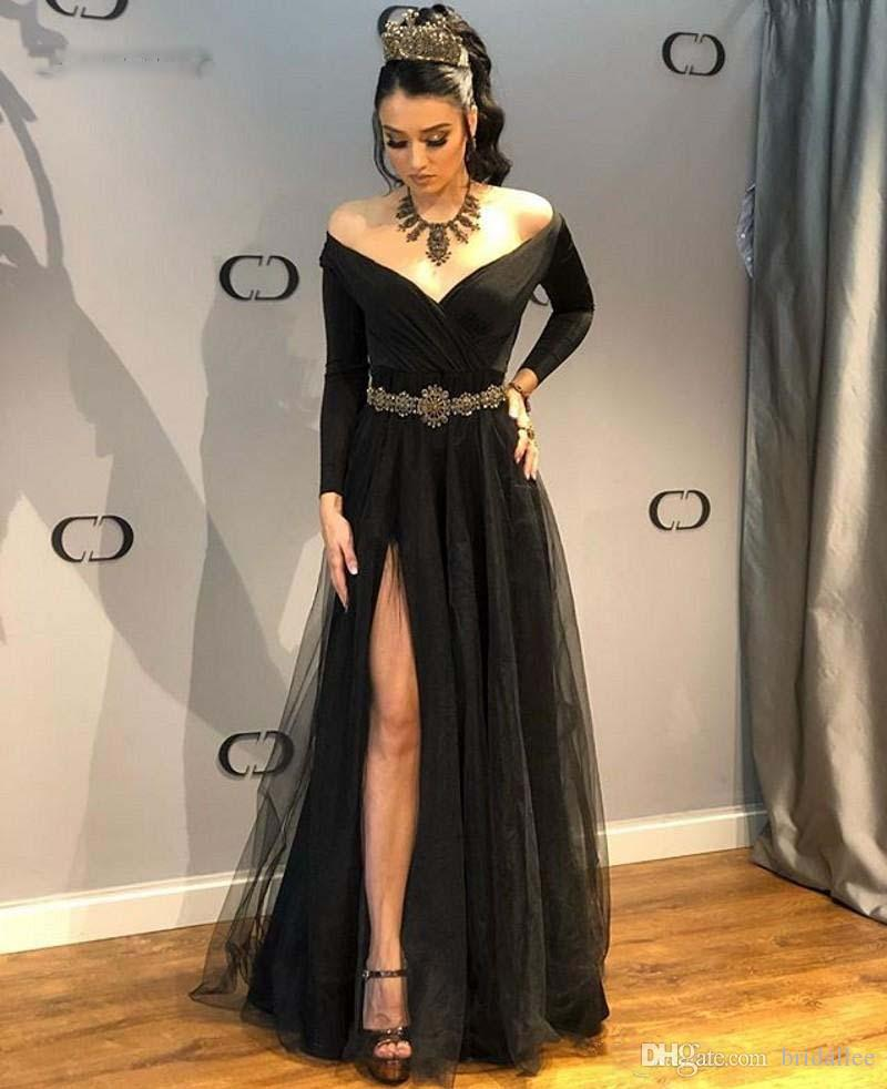 1ece5637add6 Black Evening Dresses Long Sleeves Off Shoulder Formal Long Dresses Sexy  Side Slit Gowns Araboc Women Robe Tulle Vestido Longo De Fest Online  Evening ...