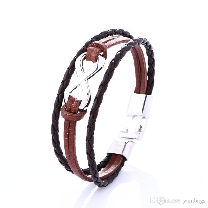 Multilayer Wrap Bracelets for Men Women Infinity Silver Number Eight Black Brown Genuine Cow Leather Braided Charm Fashion Bangles Jewelry