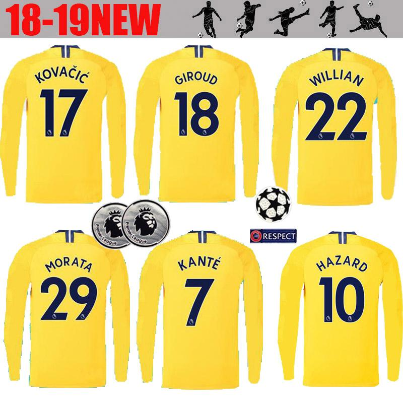 Long Sleeve  10 HAZARD Away Yellow Soccer Jersey 18 19  29 MOROTA  22  WILLIAN Full Sleeve Soccer Shirt 2019  7 KANTE Football Uniforms Chelsea  Soccer Jers ... 55a2c5618
