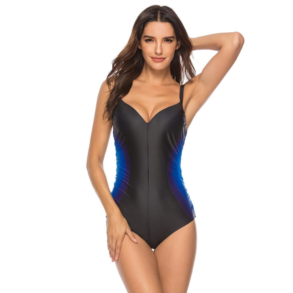 Plus Size 3xl Swimwear Women Sexy Black One Piece Swimsuit Women Summer 2019 Sexy Sport Bathing Swimming Suit For Women Stroj Ka