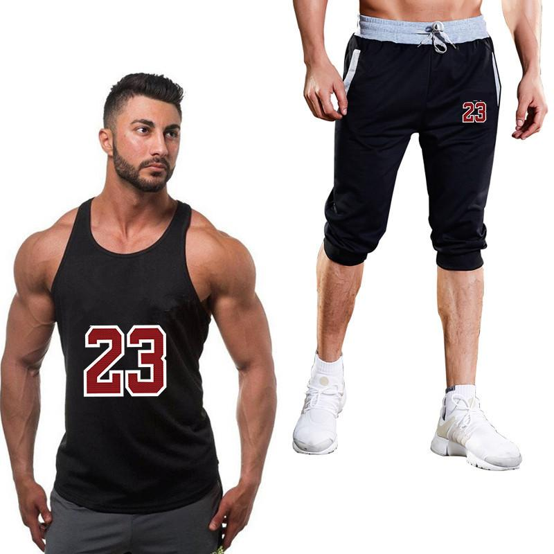 cc0193fa1 Conjunto de chándales para hombre Marca de verano Ropa deportiva para  hombres Pantalones cortos Conjunto pantalón corto Camiseta sin mangas Traje  ...