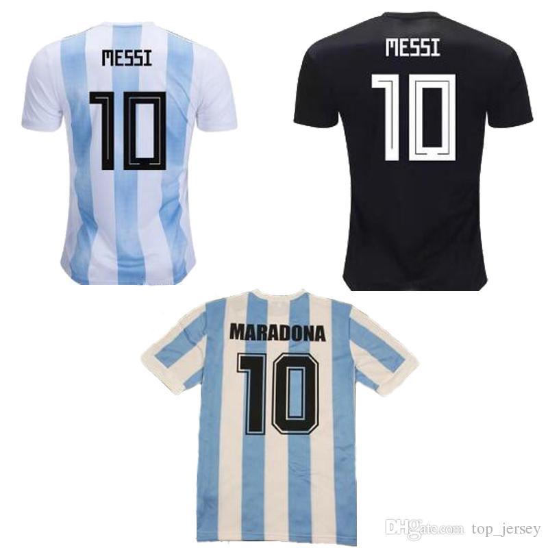 accf724d7 Compre Nova 2019 Argentina 86 Retro MARADONA 2018 Copa Do Mundo MESSI Casa  Branco Azul Longe Homens Camisa De Futebol Aguero Di Maria Dybala Camisa De  ...