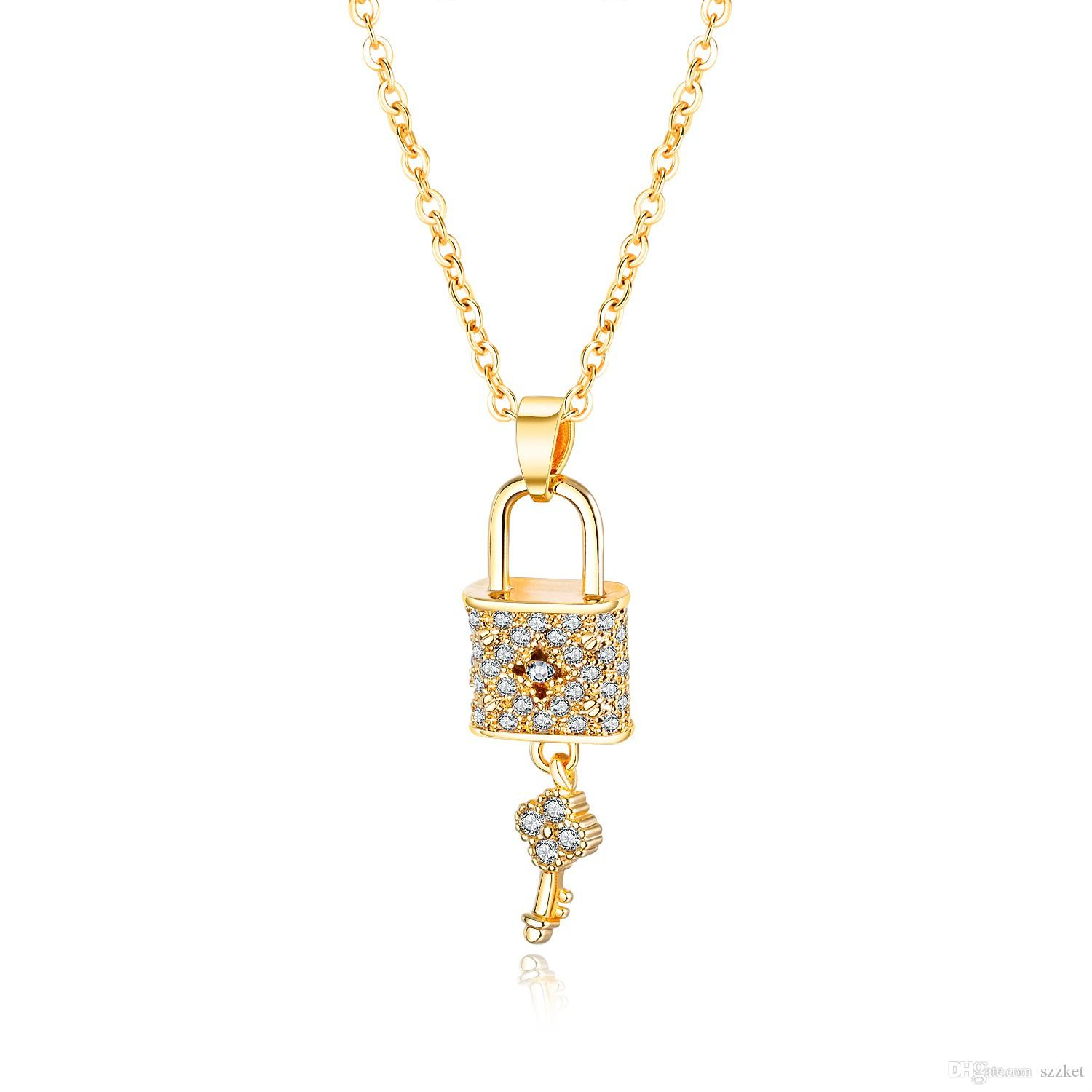 European and American fashion concentric lock personality pendant High quality ladies necklace Couple holiday gift 3-KX711