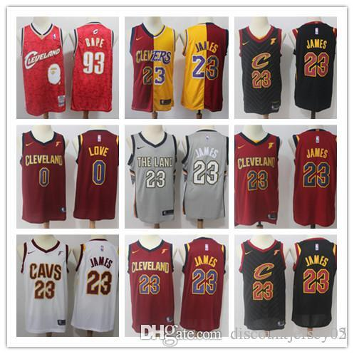 huge discount 25a9f 6f83a 2018 Cleveland 23 LeBron James Jerseys Men The Land Edition Basketball 0  Kevin Love Smith CLE Cavaliers Playoffs Jersey