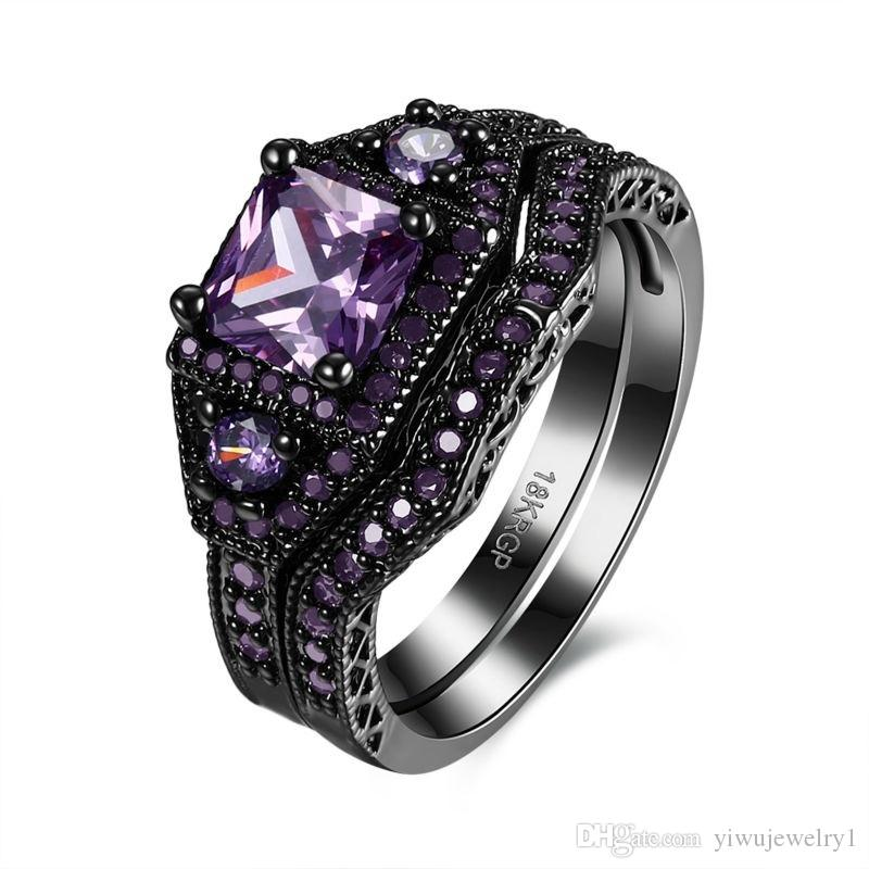Princess cut 5mm 1ct Amethyst Bridal Jewelry 18k Black Gold Plated Retro Women's Wedding Ring Sets Size 5 -12