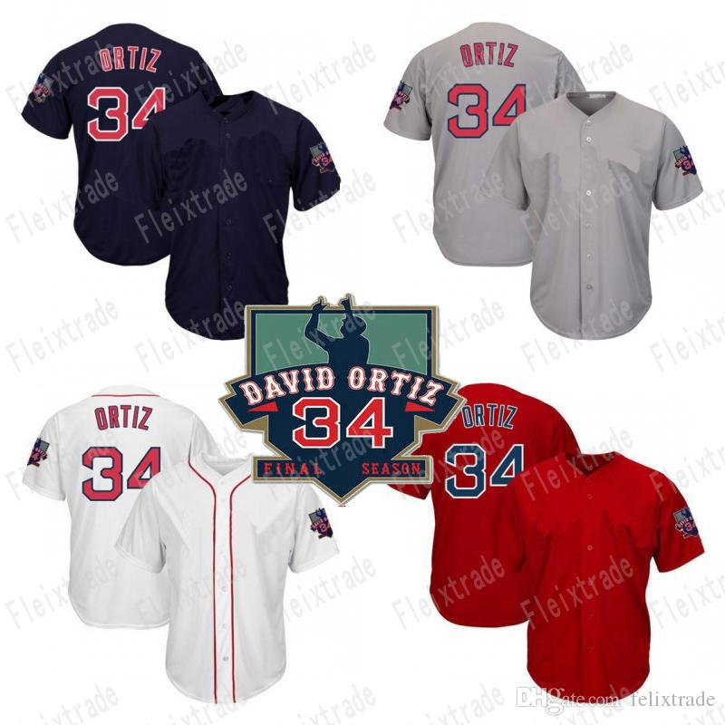 2019 Mens Boston 34 David Ortiz Baseball Jersey With Retirement Patch  Double Stiched Cool Base Felx Base High Quanlity From Felixtrade 0c79ea910b7