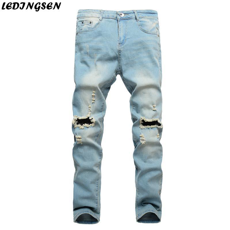 e66375ea29 Compre LEDINGSEN Pantalones Vaqueros Azules Desgastados Hombres Jeans  Ajustados Streetwear Pantalones Largos Y Negros Pantalones De Mezclilla  Desgastados ...
