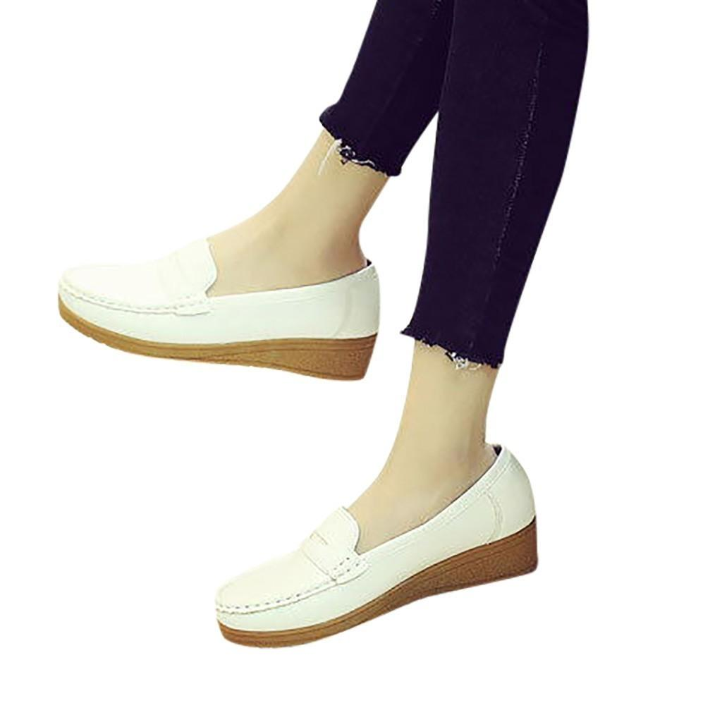 7daa29db99c Shoes Youyedian Fashion Womens Casual Peas Leather Moccasins Slip On  Driving Sepatu Wanita Korea Party Pla g25 Womens Loafers Mens Leather Boots  From ...