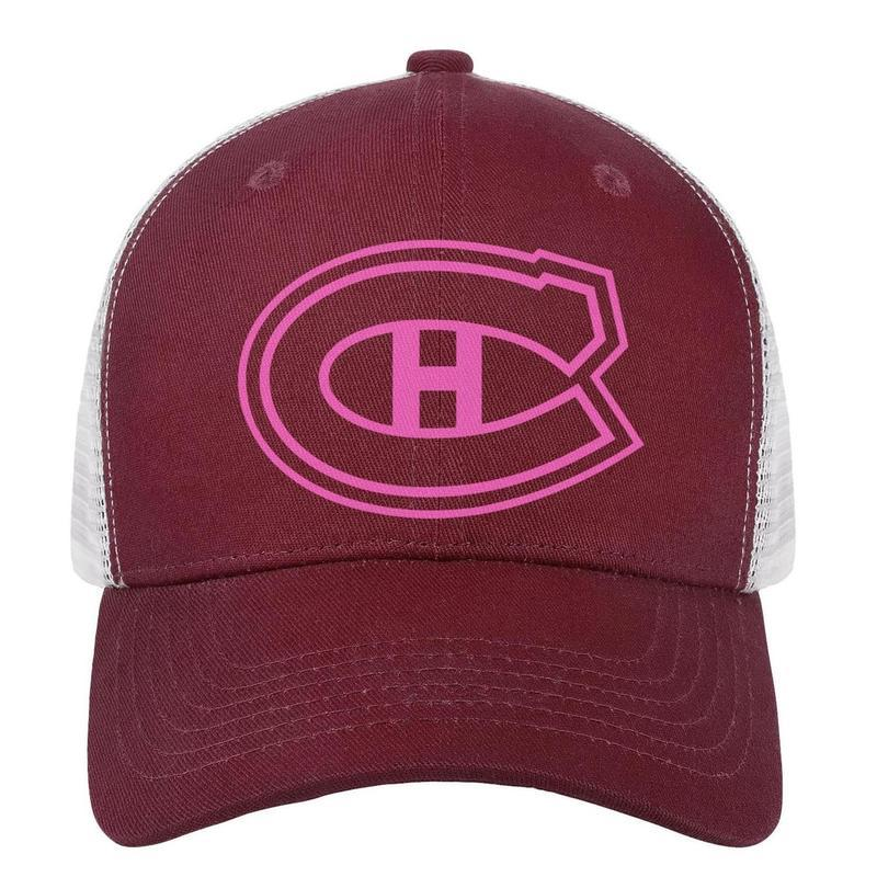 09a6caf1 Montreal Canadiens Pink Breast Cancer Man Trucker Hat Printing ...