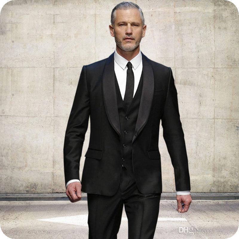 802ac8647 Compre Últimos Abrigos Pantalones Diseños Negro Novio Esmoquin Trajes De  Hombre Para La Boda Fiesta De Noche Formal Slim Fit Mejor Chaqueta De  Hombre Blazer ...