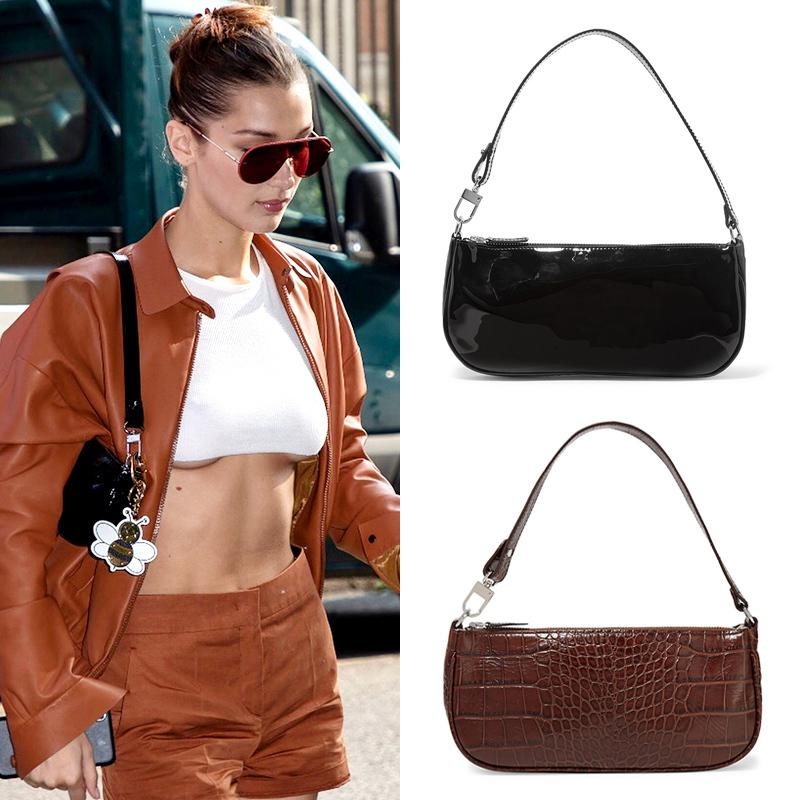 Vintage Alligator Baguette Ins Popular Designer Bags Women Handbags Purses Messenger Bag Fashion Pu Leather Women Bag Y19062003