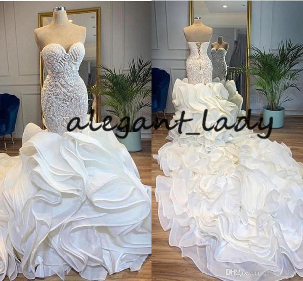 Cascading Ruffles Cathedral Train Mermaid Wedding Dresses 2020 Sweetheart Lace-up Corset Back Beaded Work Arabic Church Wedding Gown