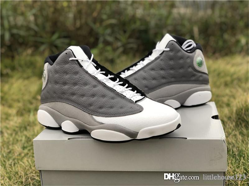 2bad73590 2019 2019 13 Authentic Retro Atmosphere Grey 3M Black White Red SAIL 13S  Men Basketball Shoes Real Carbon Fiber Sneakers 414571 016 With Box From ...