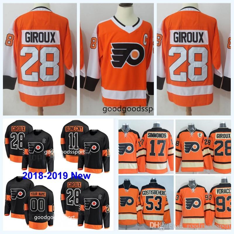 844324a1c 2018 2019 New Black Philadelphia Flyers 9 Ivan Provorov 11 Travis ...