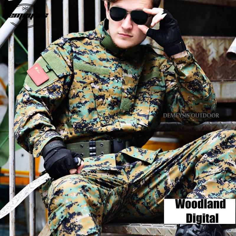 Woodland Digital Camouflage Suit Tactical Sets Army Uniform Combat Uniform Shirt + Pants