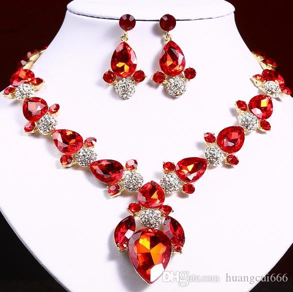 Best-selling high-end bridal jewelry necklace earrings set Wedding party banquet accessories Color crystal diamond jewelry Free shipping