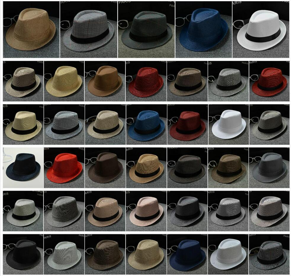 2019 40 Designs Fashion Straw Hats Men Women Panama Hats Plain Color Jazz  Hat Stingy Brim Hats From Timelesszeng2 954abafb073