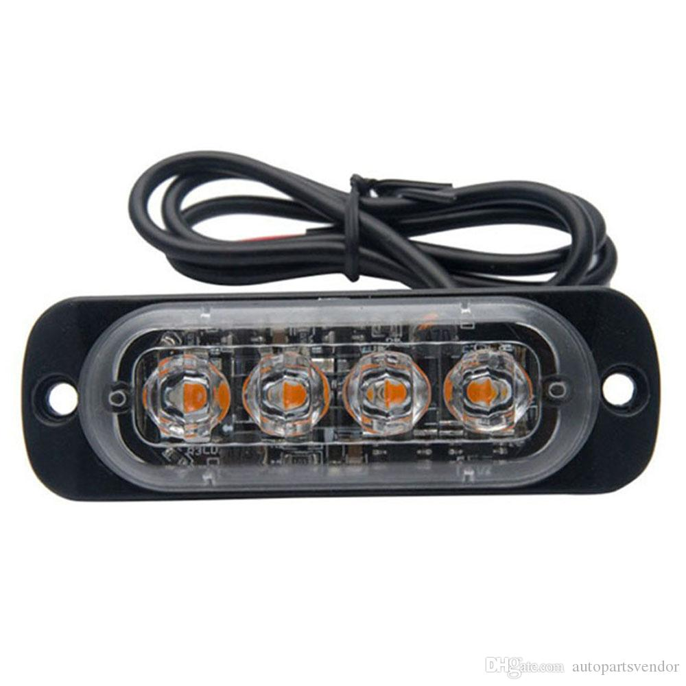 2x 4 Led Strobe Car Fog Light Autos Grille Styling Warning Flash Beacon Light Motorcycle Day Driving Signal Light Emergency Lamp Exterior Accessories Car Tax Disc Holders