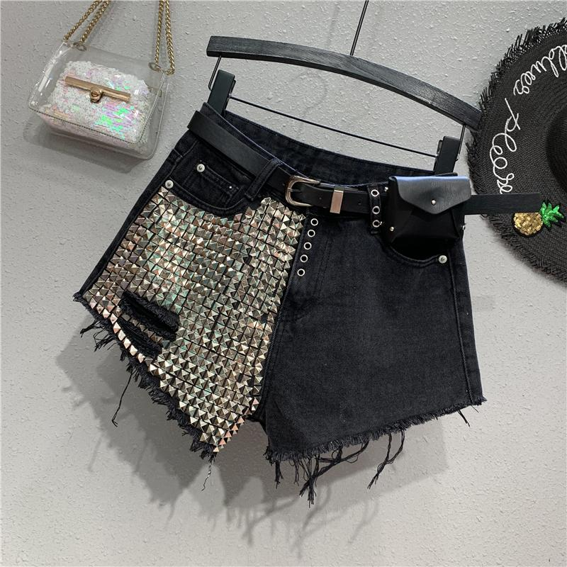 Shorts Wide Leg Pants Washed Vintage Zippers Embroidered Flares Pockets Button High Waist Jeans Women Softener Loose Punk Style