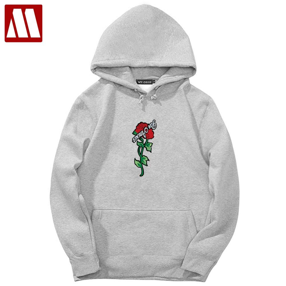 Hot Sale 2019 Brand Autumn Spring Hip Hop Pullover Sweatshirts Men High Quality Hoodie Fashion Rose printing mens hoodies Tops