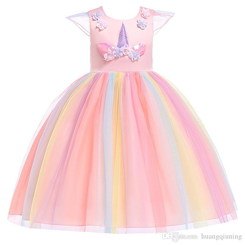 50a2a28e81148 Unicornio Fancy Dress For Unicorn Girls Party Frocks Princess Girl Summer  Costume Children Wedding Birthday Outfits 4-10 Years Kids Dresses