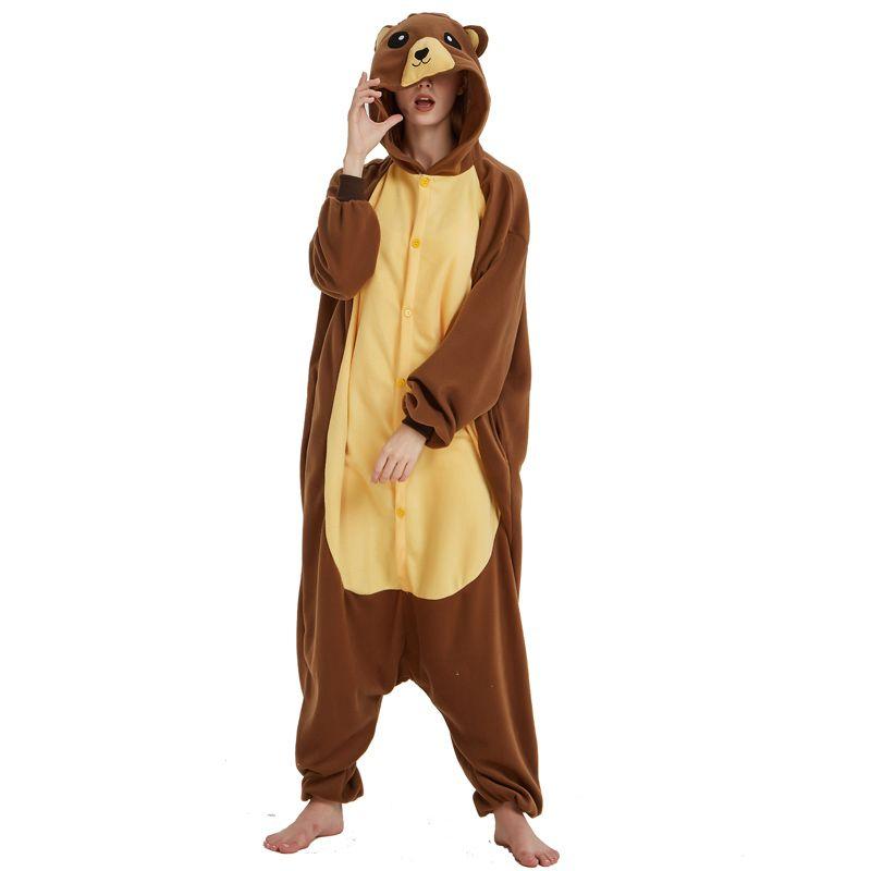 b409bf85c3 2019 Funny Brown Bear Onesie Kigurumi Women Jumpsuit For Adult Pajamas  Sleepwear Men Animal Costume Halloween Pyjamas Cosplay Party From Home5