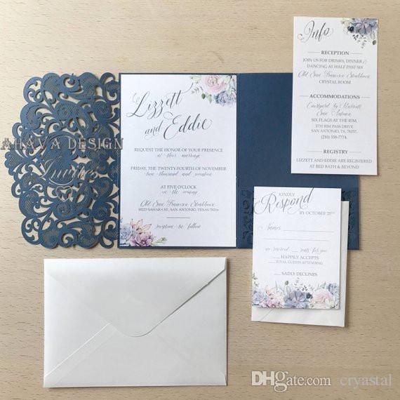 2018 Dusty Blue Pocket Wedding Invitations Lasercut Pocket Wedding