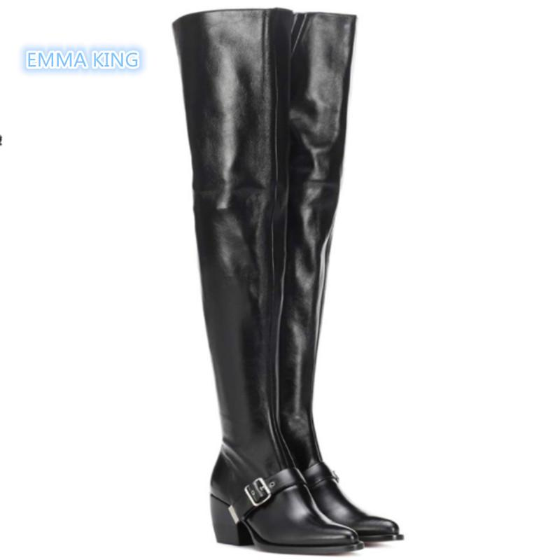e461d29587d Black Leather Women Over The Knee Knight Boots Chunky Heels Pointed Toe  Thigh High Boots Side Zipper Belt Buckle Runaway Shoes Over Knee Boots Boots  For ...
