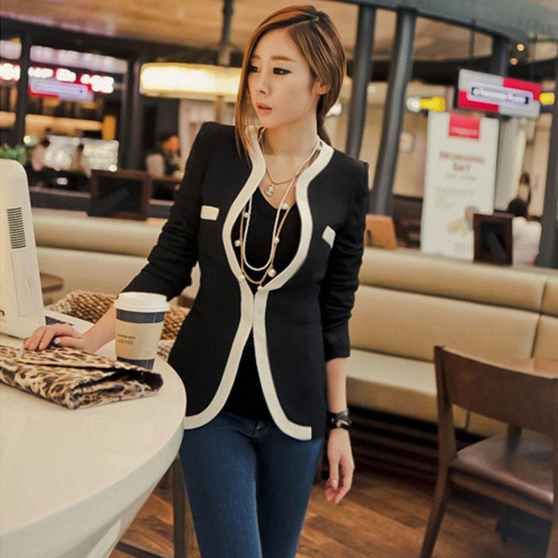 Women Business Coat Slim Fit Suit Blazer Pockets Long Sleeve Top a Generation of Fat Korean-Style Fashion Black And White Edge
