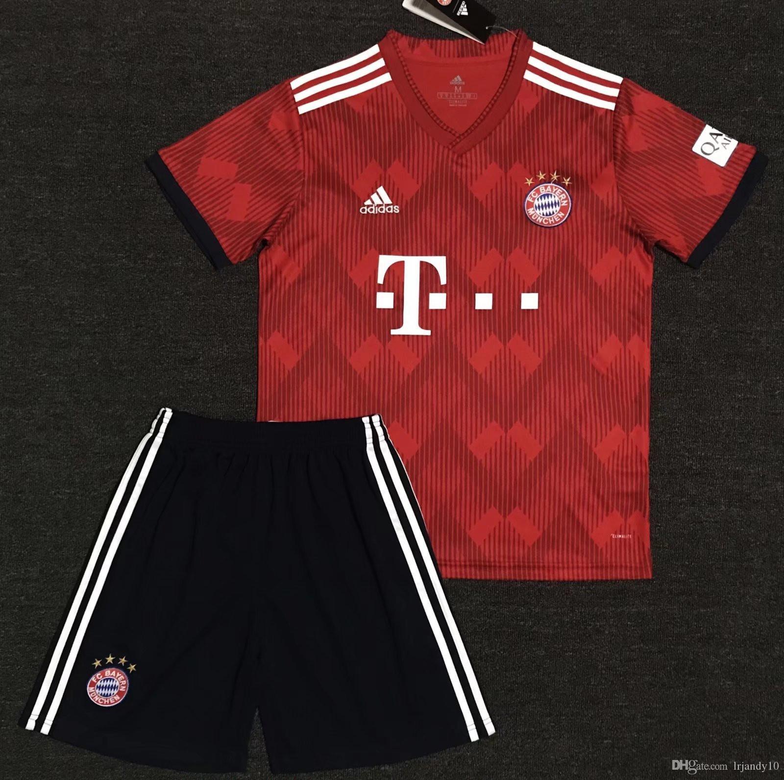 50b677038 Compre 2019 # 25 MULLER Bayern Munique Casa Criança Camisa De Futebol 18/19  Casa Camisa De Futebol Vermelha # 11 JAMES # 9 LEWANDOWSKI Uniforme De  Futebol ...