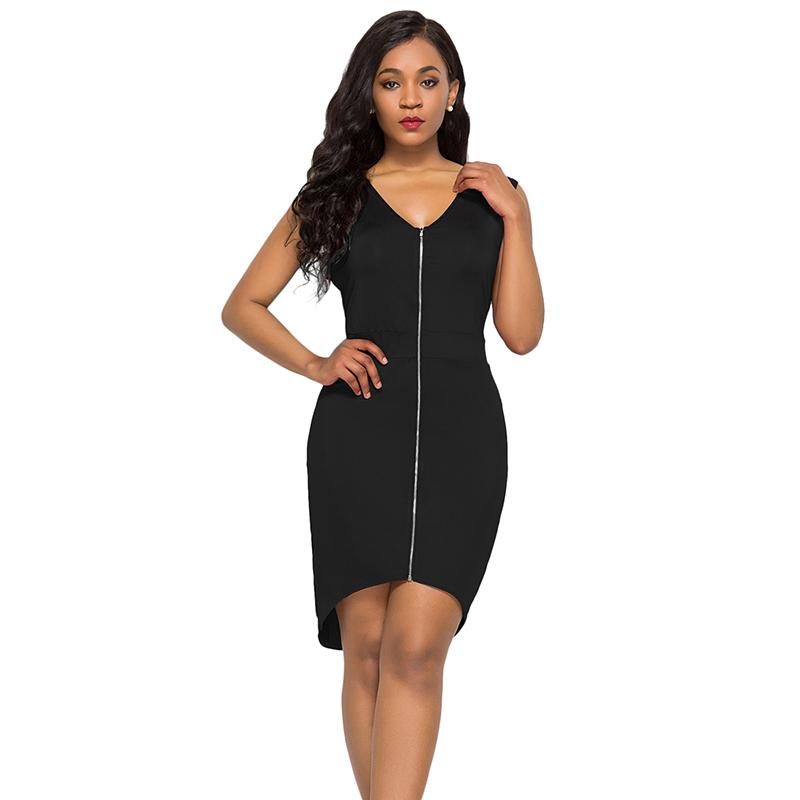 Women Plus Size Bodycon Dress Sleeveless V Neck Zip Front Irregular ...