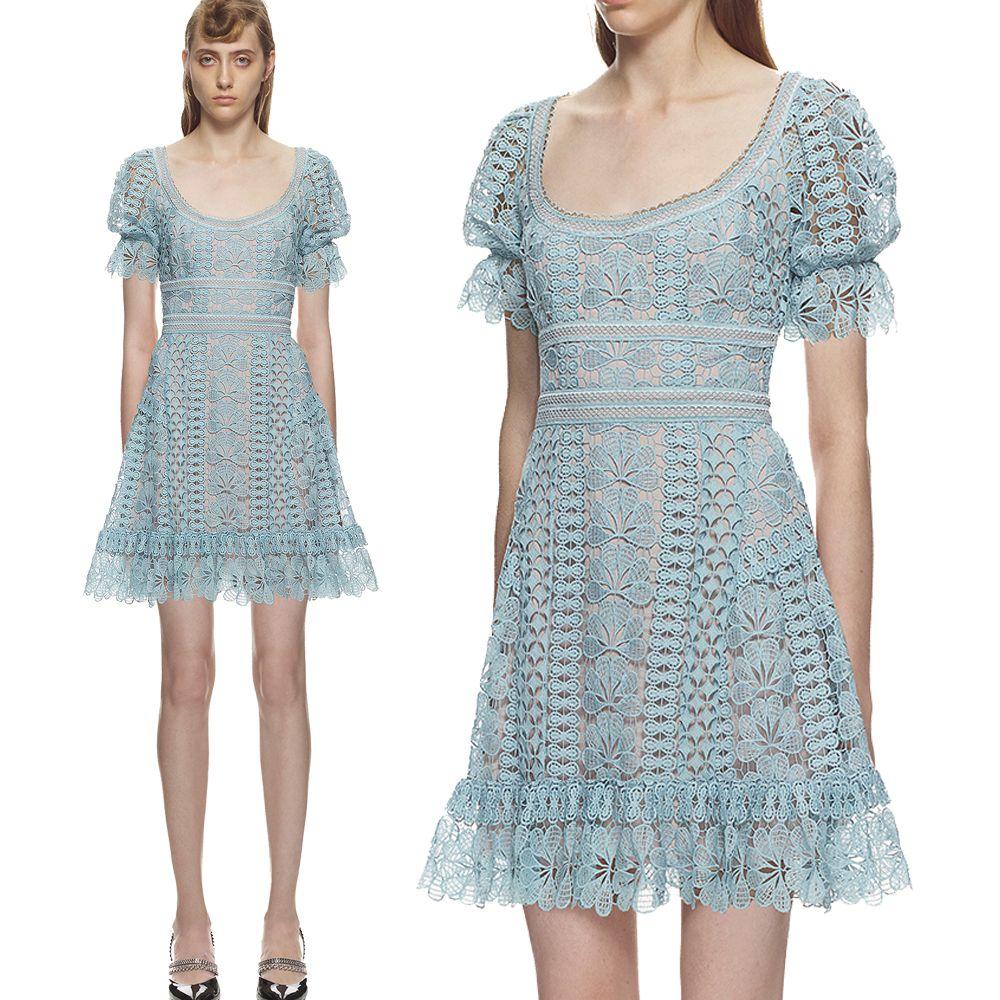 9c6c54368942 Acquista 2019 Estate Cute Light Blue Dress Ricamo Pizzo Abiti Da Donna  Dolce Elegante Di Alta Qualità Palazzo Design Abiti Da Sera A  76.39 Dal  Clothes zone ...