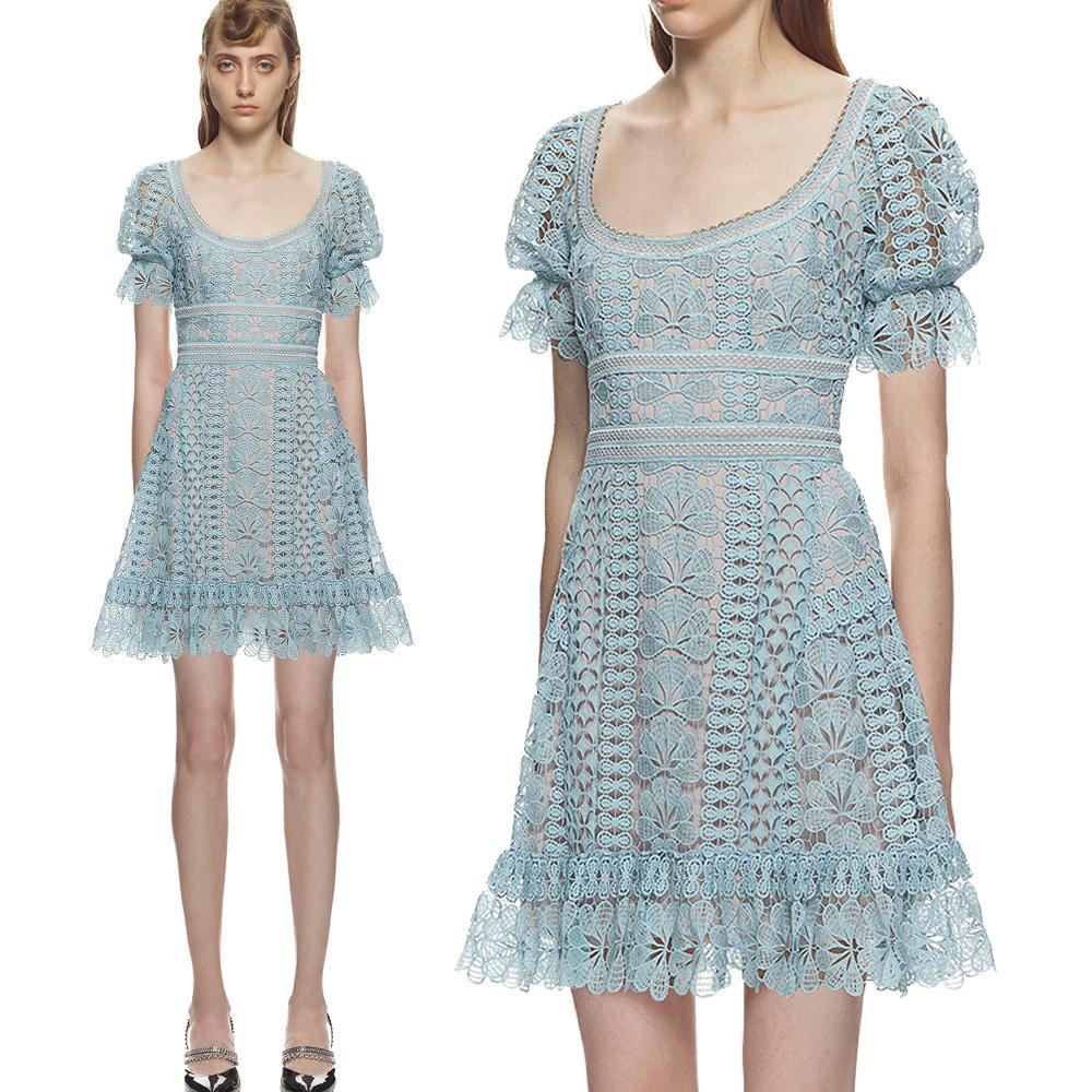 65507a62b72b Compre 2019 Verano Lindo Vestido Azul Claro Bordado De Encaje Vestidos De  Las Mujeres Dulce De Alta Calidad Elegante Palacio Diseño Vestidos De Fiesta  De ...