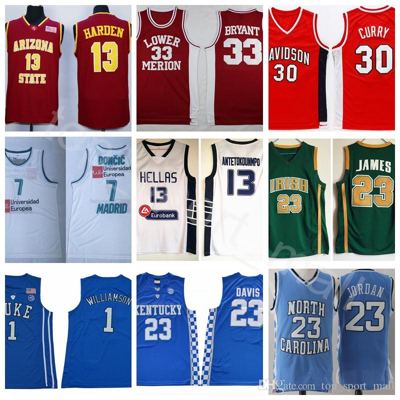 College Basketball Jerseys Football All Colors LeBron Curry Luka Doncic James Bryant Harden Michael Antetokounmpo Davis Wall Williamson Link