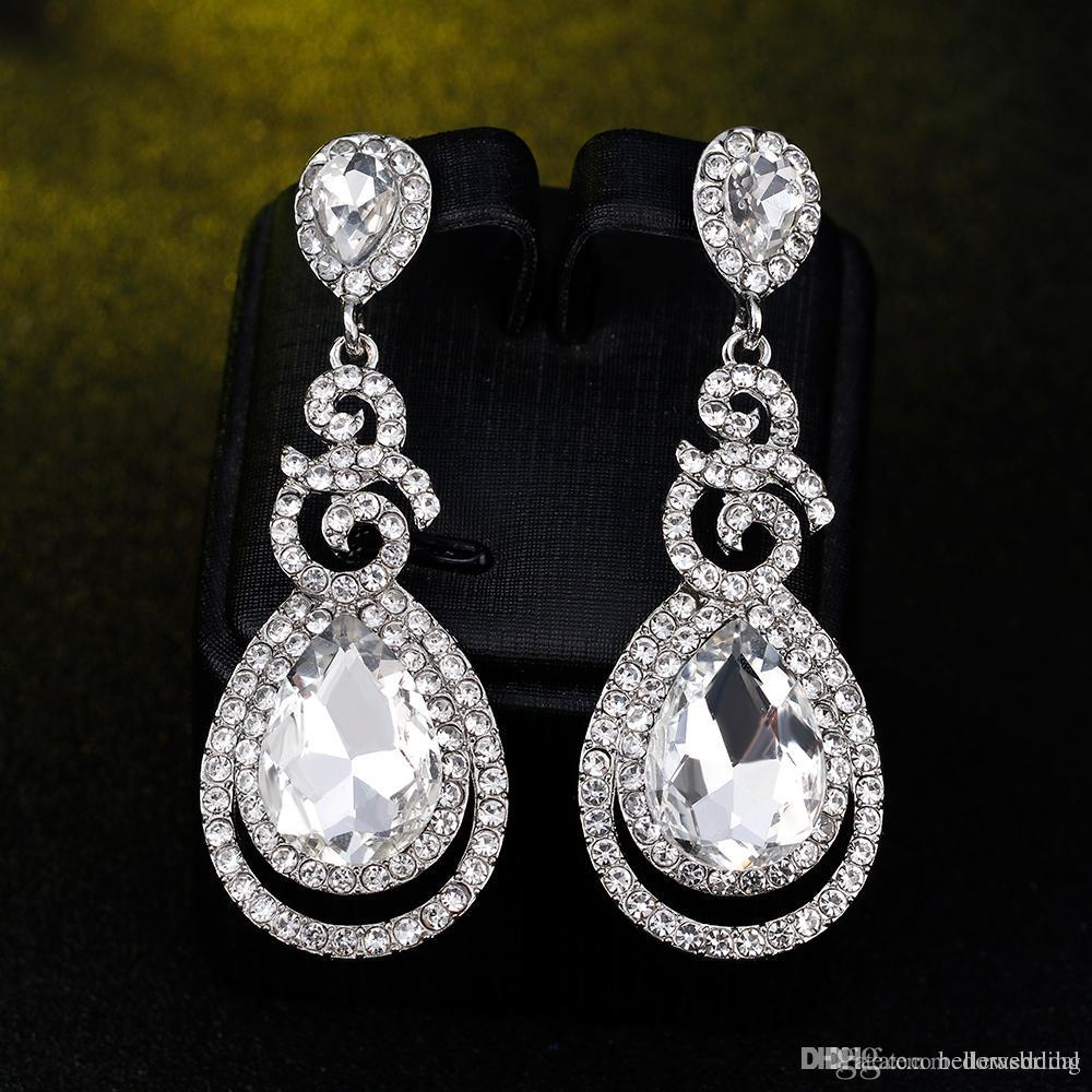 New Bridal Earrings with Crystals Rhinestones Water Drop Earring Bridal Jewelry Findings Wedding Accessories For Brides BW-096