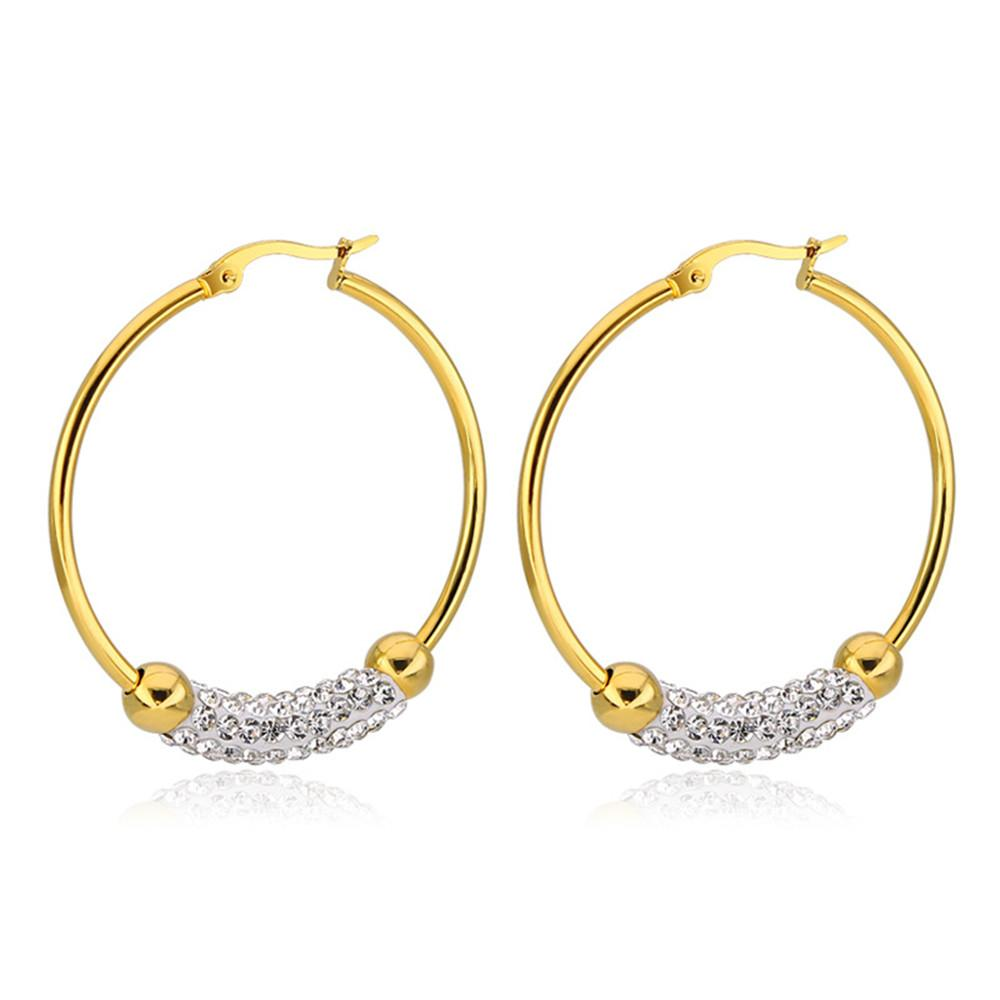 94ab61c7753b31 2019 Fashion Big Round Earrings Charms Female Jewelry Crystal Hoop Earrings  Stainless Steel Circle Gold Accessories Women Gifts From Trevorariza, ...