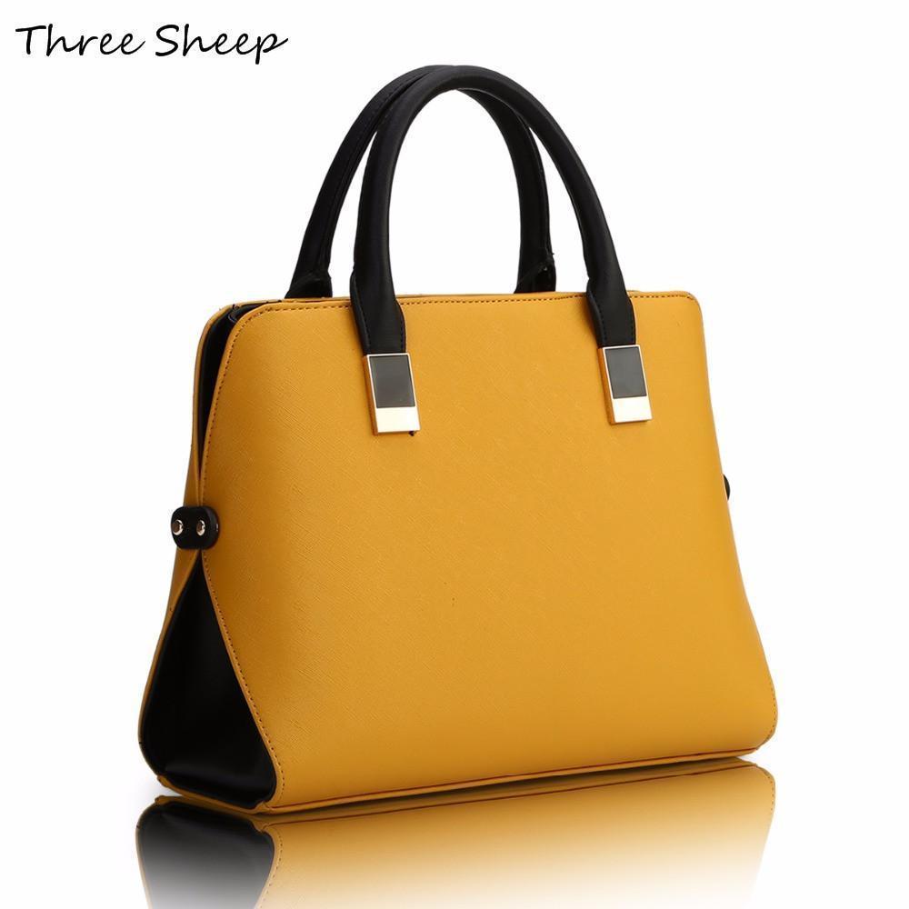 Compre Venta Al Por Mayor Bolsos De Mano Para Mujer De Color Amarillo  Diseñadores PU Famosos Bolsos De Diseñador Bolso De Cuero Azul Negro De  Lujo Mujeres ... ae8cd291d76c