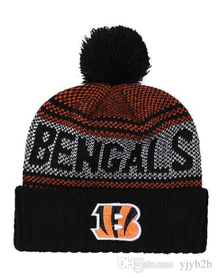 Cheap Men Women Winter Out Door Beanies Fashion Fans Brand Hip Hop Bengals Skull Beanie Hats Pom Cuffed Knit Cap