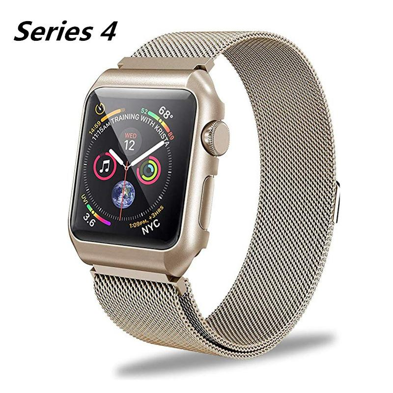 cd1a12355e186 Wholesale Milanese Loop Replacement Band For Apple Watch Series 4 40MM 44MM  With Metal Protective Case Strap Bracelet For IWatch 4 Leather Watch Band  Watch ...