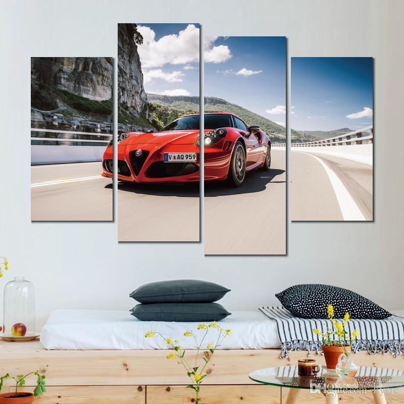 canvas prints alfa romeo spec red painting wall pictures for living room decoration